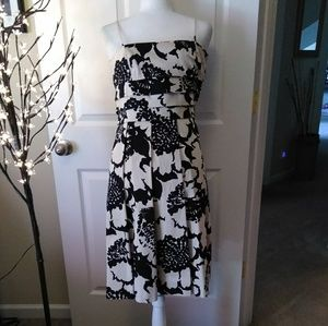 NINE WEST cotton, tiered, pleated flare dress.